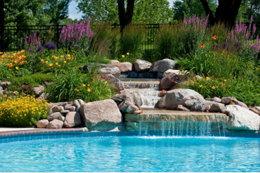 Waterfall into Pool Hardscape