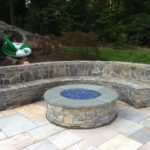 FIRE PIT FEATURING STONE VENEER FROM SKYLINE QUARRY