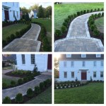 NEW SIDEWALK WITH BOXWOOD OUTLINE